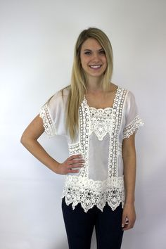 White Lacey Insert Top - Johnny Was Clothing
