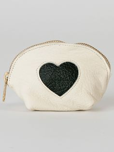American Apparel - Leather Heart Make-Up Pouch