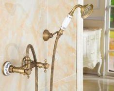 Prepracovaná sprchová batéria v retro štýle Bathtub Shower, Shower Set, Bathroom Fixtures, Bathroom Hooks, Messing, Retro, Wall Mount, Faucet, Door Handles