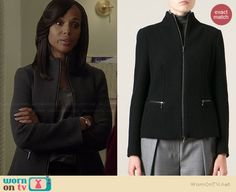 Olivia's knit zip front jacket on Scandal.  Outfit Details: http://wornontv.net/38122/ #Scandal