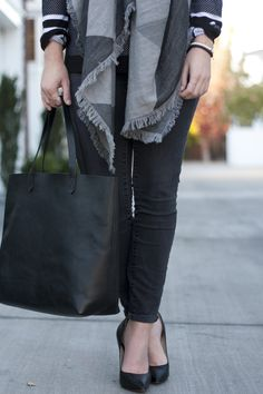 Casual black and grey tones