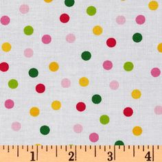 Remix Polka Dots Garden from @fabricdotcom  Designed by Ann Kelle for Kaufman Fabrics, this cotton print fabric is perfect for quilting, apparel and home décor accents. Colors include fuchsia, pink, lime, green, yellow and white.