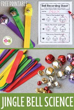 Use this simple science project to explore sound with young kids. Make three jingle bell sticks and record observations on free printable recording sheet. Perfect STEM or STEAM activity or craft for kids in preschool, pre-k, and kindergarten. A great holiday or Christmas party activity. Supports a Christmas or 5 senses theme or unit and the jingle bell sticks can be used as a circle time activity. Christmas STEM, holiday STEM, preschool STEM
