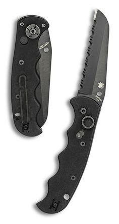 SPYDERCO Autonomy AUTO Folding Knife 3.65 inch H-1 Black Serrated Blade, G10