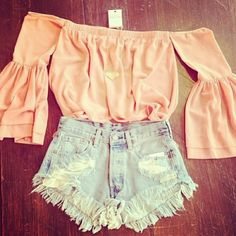 Could go with a long, button front skirt; but the shorts go good with them too though. An maybe it the top was in a DIFFERENT color. I dislike pink...