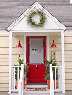 red front door - frosted window