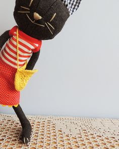 black cat. virginia otten. lovely hand-sewn cat plush toy. sew. stuffed animal.