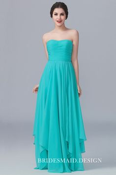 Strapless pleated turquoise chiffon simple long bridesmaid dress with uneven hemline. Ruffles Bridesmaid Dresses, Affordable Bridesmaid Dresses, Strapless Dress Formal, Prom Dresses, Perfect Wedding Dress, Best Wedding Dresses, Cheap Wedding Dress, Wedding Gowns, Trendy Dresses