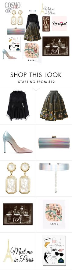 """""""Paris in New Orleans"""" by sonthia ❤ liked on Polyvore featuring Prada, Jimmy Choo, Rivka Friedman, Accessorize, Rifle Paper Co, Brewster Home Fashions and Home Decorators Collection"""