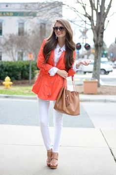 love the all white look for spring with neutral accessories, a bright pop of color in the coat/blazer, and a bright lip.  Southern Curls & Pearls: Spring Trench Coat…