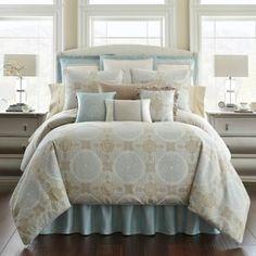Waterford® Linens Jonet Reversible Comforter Set in Cream/Blue - BedBathandBeyond.com