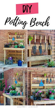 Bench Make a DIY potting bench using pallets! I even reused the nails making this a completely FREE project!Make a DIY potting bench using pallets! I even reused the nails making this a completely FREE project! Diy Garden Furniture, Diy Garden Projects, Diy Pallet Projects, Diy Garden Decor, Furniture Projects, Fairy Furniture, Crafty Projects, Outdoor Projects, Pallet Potting Bench