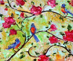 Original oil Spring Birds and Flowers palette by Karensfineart