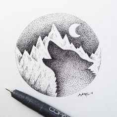 Lotsa dots. #LoneWolfSeries #wolf #illustration