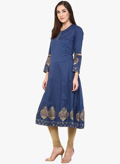 Buy Bhama Couture Blue Printed Kurta for Women Online India, Best Prices, Reviews   BH799WA25FRQINDFAS