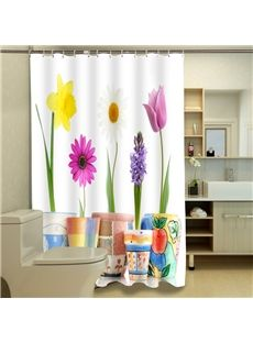 New Arrival Glamorous Potted Plants 3D Shower Curtain