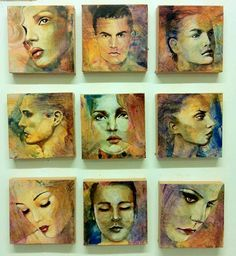 "Portrait paintings in a small scale in acrylic, both male and female ""heads"", these canvases were both interesting and challenging to paint. The textural element added to the overall appearance of this artwork which comprisers of no less than nine individual portraits."