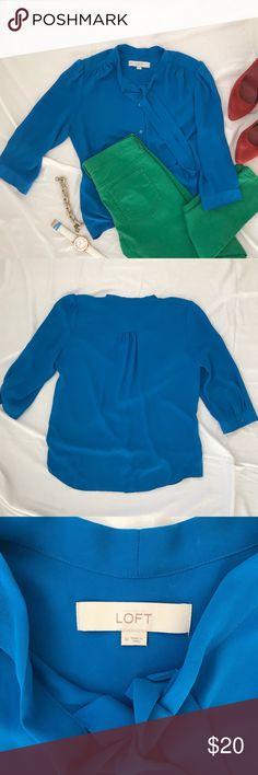 Ann Taylor Loft Colbalt Blue Tie Neck Blouse Ann Taylor Loft Colbalt Blue Tie Neck Blouse LOFT Tops Blouses