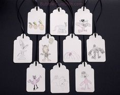 #Halloween #HangTags #GiftTags My #ChildsDrawings 3x5 Set of 10 Colored Pencil Large #Kids #Drawing  by BubbleGumDish.com