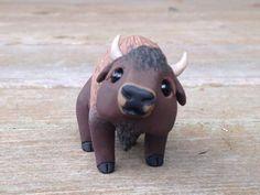 Buffalo: Handmade miniature polymer clay animal by AnimalitoClay