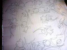 Остальное: тюльпаны на синем(платок)90/90см. (Холодный батик, шёлк, роспись, цветы) ФОТО #1