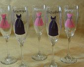 Definitely going to try and make these myself for my ladies! What a great idea and a unique way for them to always remember their role on my big day :)    Bridesmaid Wine Glasses, Bridesmaid Gifts, 10 dollars each. $10.00, via Etsy.