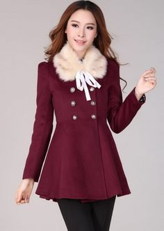 New Fashion Double-Breasted Fur Collar Coat