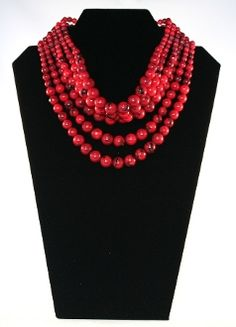 Red Beaded Choker  Ukrainian traditionally coral but too endangered now