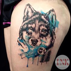 This Tattoo Design Absolutely One of The Gorgeous Art I have ever Seen Wolf Tattoo Back, Small Wolf Tattoo, Wolf Tattoo Sleeve, Wolf Tattoos, Lion Tattoo, Small Tattoos, Sleeve Tattoos, Wolf Tattoo Design, Tattoo Designs