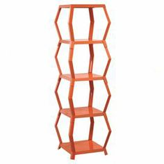 """Featuring an openwork geometric design, this sculptural etagere is the perfect place to display eye-catching curios or your favorite photos.  Product: EtagereConstruction Material: MetalColor: Orange blushFeatures:  Four hexagon-shaped spacious shelves Versatile placement  Dimensions: 54.72"""" H x 16.18"""" W x 16.18"""" D"""
