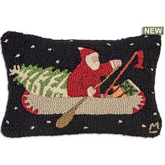 Santa stopped along the way to fish, now he's hurriedly paddling his canoe under a starry night with a green Christmas tree and a last minute gift for the missus. Christmas Rugs, Green Christmas, Christmas Stuff, Christmas 2019, Rug Hooking Designs, Punch Needle, Pillow Inserts, Needle Felting, Craft Projects