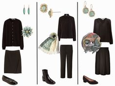 A Black Capsule Wardrobe with Soft Green and Verdigris Accessories