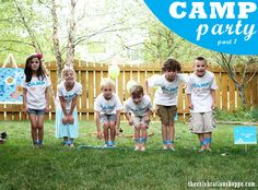 Camp birthday party ideas ~ party games including one legged race, NERF archery, NERF shooting gallery, Twister and more!