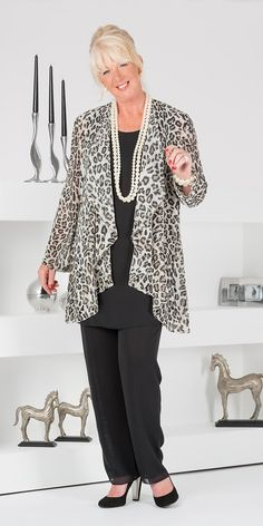 Veromia leopard chiffon jacket, vest and trouser
