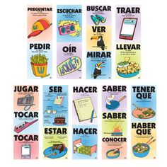 Set includes: Ser and estar Tener que and haber que Jugar and tocar Saber and conocer Hacer Preguntar and pedir Escuchar and oír Buscar , ver , and mirar Traer and llevar ©2017. Set of nine posters. 13 x 38 inches each. Laminated.