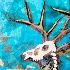 probably won't finish this today but it's the thought that counts #skull #deer #stag #animalskull #collage #papercollage #happyhalloween