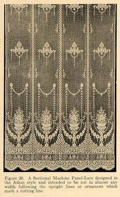 1919 Print Machine Lace Panel Adam Style Window Pattern ORIGINAL HISTORIC GF4