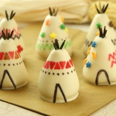 Teepee Cake Bites by MissCandiQuik   could do covered strawberries, too!