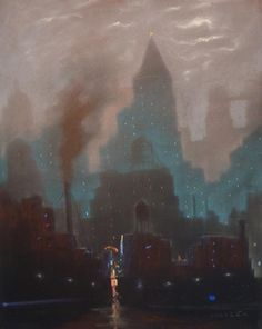 New York at Night, 1930, Leon Dolice, #newyork #video #marketing