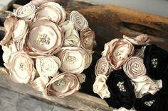 "Champagne and black bridal bouquet, 8""  Custom fabric flower bridal bouquet, alternative fabric flower bouquet"