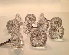 "Vintage Knob Collections | Antique Vintage Style Clear Glass Cabinet Knobs Pulls 1-1/2"" Seconds ..."