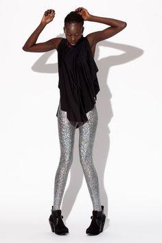Shattered Glass Silver Leggings