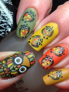 I am unfolding before you 15 + owl nail art designs, ideas, trends & stickers of I am sure you would love the collection. Owl Nail Art, Owl Nails, Matte Nail Art, Animal Nail Art, Fabulous Nails, Gorgeous Nails, Pretty Nails, Owl Nail Designs, Colorful Nail Art