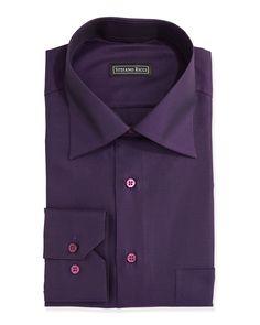 Tonal-Jacquard Dress Shirt, Purple, Men's, Size: 17 1/2 - Stefano Ricci