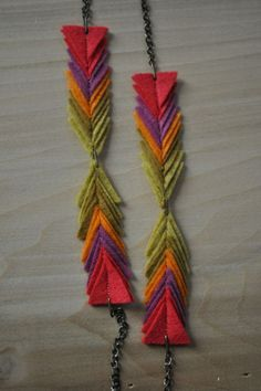 felt triangle jewelry from ktees on etsy
