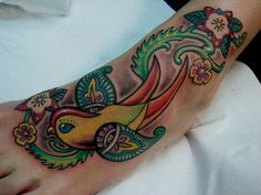 Swallow Tattoos | paisley swallow tattoo with flowers | Tattoos