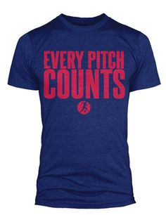 """Our #MLB inspired """"Every Pitch Counts"""" t-shirt for men & women - this one featuring the colors of the St. Louis Cardinals & Atlanta Braves"""