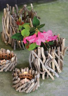 Driftwood cylinders candle holders.