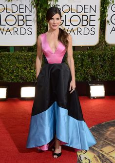 Best Actress nominee Sandra Bullock was chic in a pink, black and blue Prabal Gurung gown.
