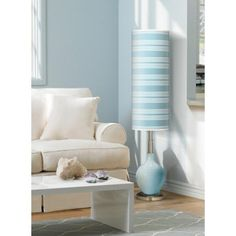 Kimono Violet Bold Stripe Ovo Floor Lamp IN PURPLE
